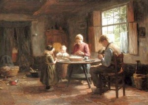 Evert Pieters - A Dutch Interior - Grace Before the Meal