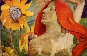 Paul Gauguin - Donna dai capelli rossi e girasoli